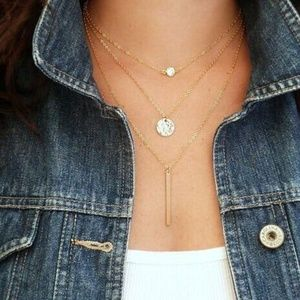 Jewelry - Gold Layered Chain Crystal Coin Bar Necklace